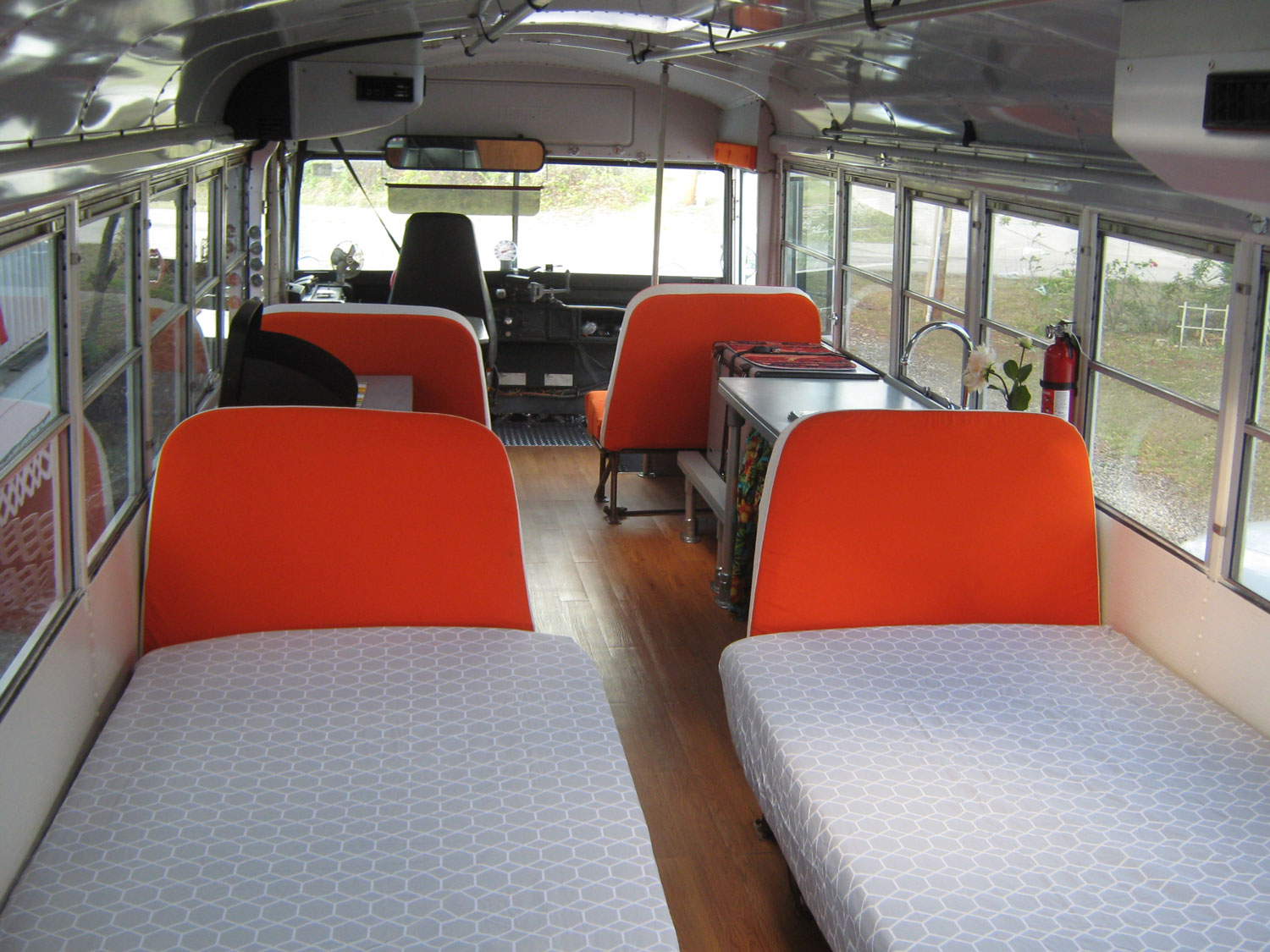 Our Skoolie was designed with two beds.