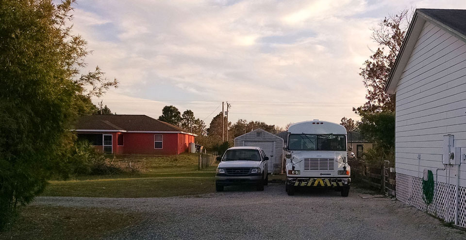 Our Skoolie RV legally parked in our driveway