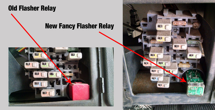Old and New Flasher Relays in a Skoolie